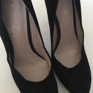 Nine West Shoes - Nine West Black Suede Platform Pump High Heels